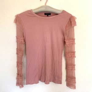 1. State Tops - 1. State rose lace sleeve tee